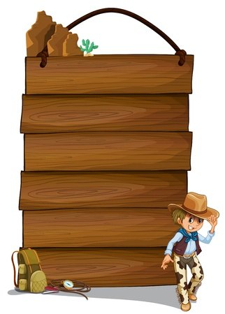 cowboy background: Illustration of a cowboy and the empty wooden signboards on a white background Illustration
