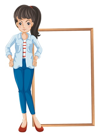 quadrilateral: Illustration of a girl standing with a blankboard at the back on a white background  Illustration