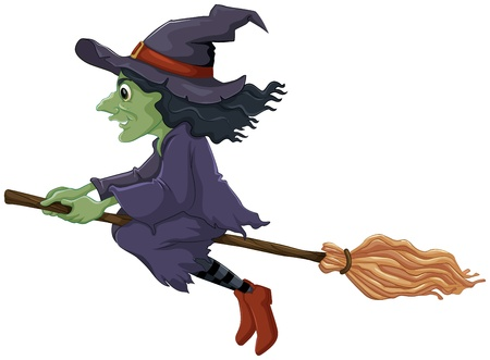 broomstick: Illustration of a flying witch on a white background