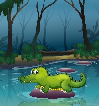 Illustration of an alligator at the river inside the forest Stock Vector - 20366727