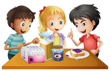 kid eat: Illustrazione dei ragazzi preparano i loro spuntini su uno sfondo bianco