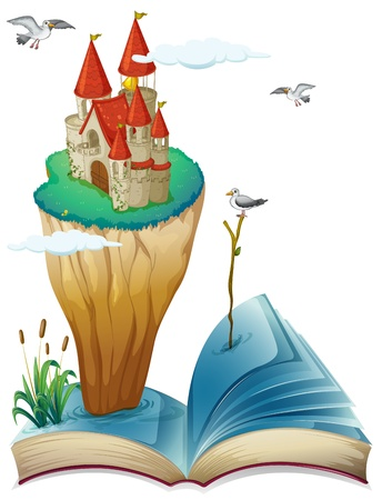 Illustration of a book with an island with a castle on a white background Stock Vector - 20366723