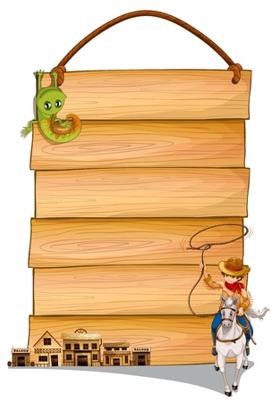 cowboy background: Illustration of a cowboy riding a horse, saloon bars and lizard in front of a wooden hanging board on a white background