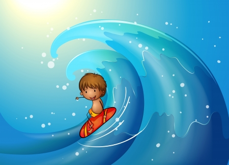 tides: Illustration of a little man surfing