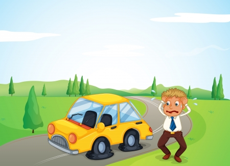 flat tire: Illustration of a man beside his yellow car with a flat tire