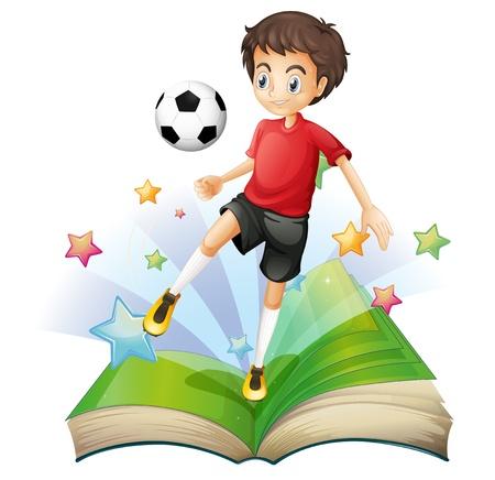 hombre flaco: Ilustración de un libro con un niño jugando al fútbol en un fondo blanco