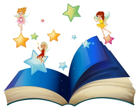 Illustration of a book with three floating fairies on a white background