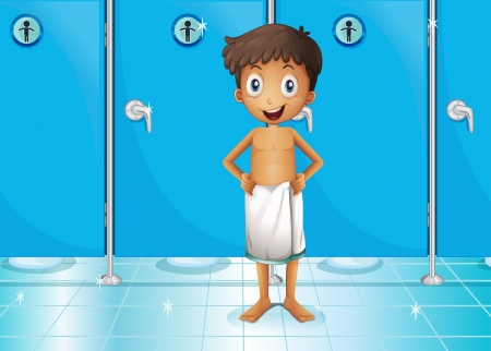 bowel movement: Illustration of a boy in the comfort room