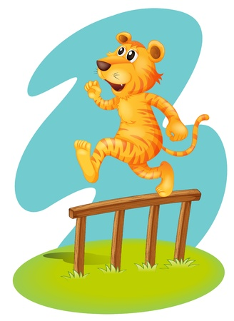 fence post: Illustration of a brave tiger jumping over the wooden fence on a white background