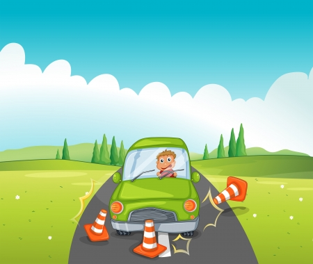 green street: Illustration of a car crash at the road near the hill