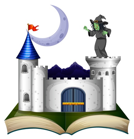 home school: Illustration of a book with a castle and a witch on a white background