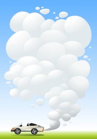 releasing: Illustration of a luxury car releasing smoke Illustration