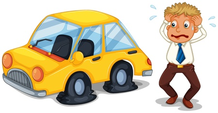 unlucky: Illustration of a worried man beside a car with flat tires on a white background