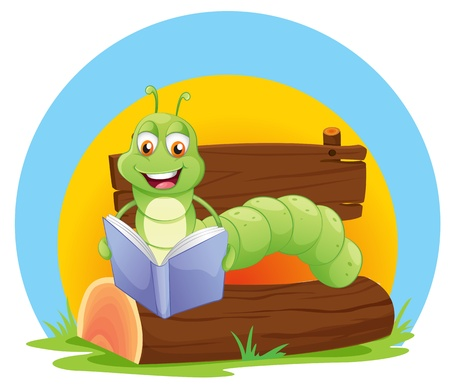 storyteller: Illustration of a worm reading a book on a white background