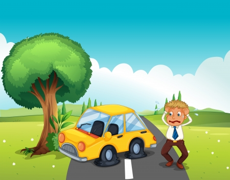 crashed: Illustration of a car bumping the tree at the road Illustration