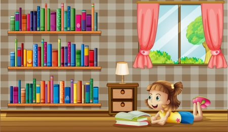 Illustration of a girl reading books near the window Vector