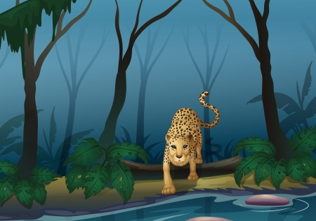 Illustration of a leopard in the middle of the forest Vector
