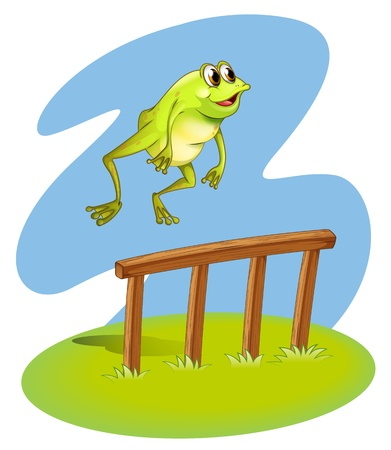 Illustration of a green frog hopping on a white background Vector
