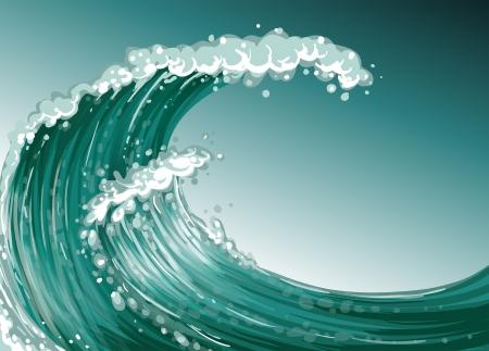granola: Ilustración de una gran ola en el mar