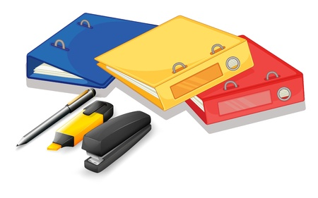Illustration of the school supplies on a white background