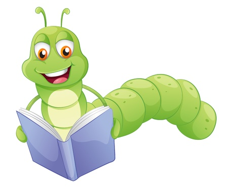 Illustration of a smiling worm reading on a white background  Vector