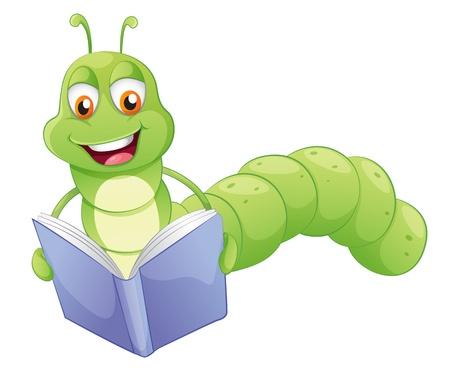gusanos: Ilustración de una lectura gusano sonriente sobre un fondo blanco