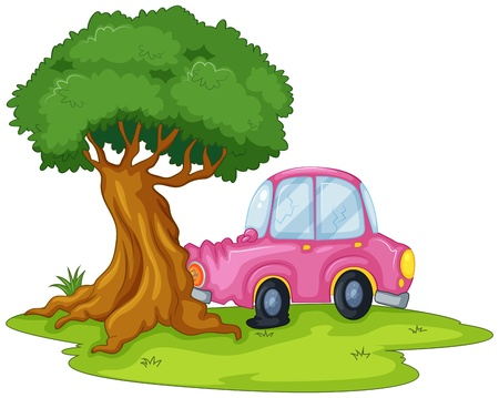 Illustration of a pink car bumping the giant tree on a white background Illustration