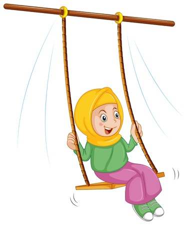 niños: Ilustración de una niña en el columpio en un fondo blanco