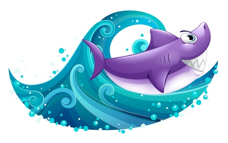 Illustration of a big wave with a shark on a white background Vector