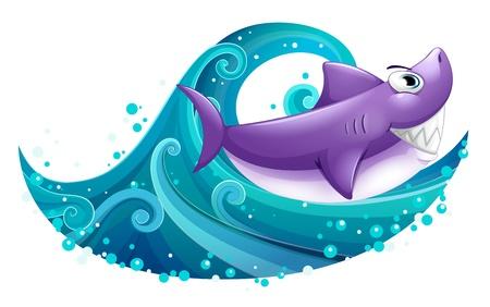 caricaturas de animales: Ilustración de una gran ola con un tiburón en un fondo blanco