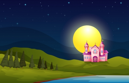 Illustration of a pink castle in the hill Vector