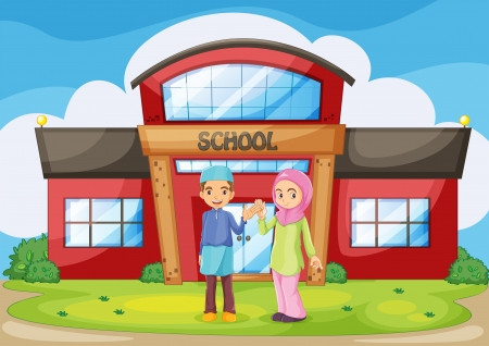 muslim girl: Illustration of a muslim couple holding their hands in front of the school