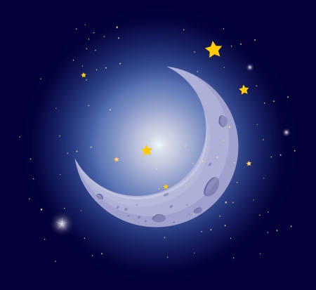 meteors: Illustration of a white crescent in the sky Illustration