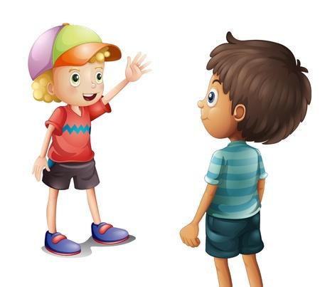 Illustratie van een jongen die bij zijn vriend op een witte achtergrond