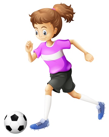 Illustration of a lady playing soccer on a white background