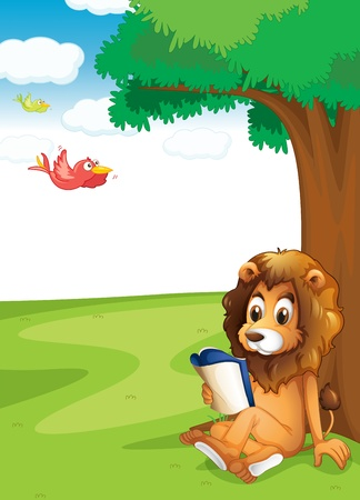 Illustration of a lion reading under the tree Vector