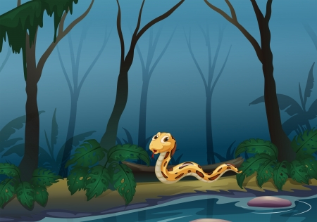 riverside tree: Illustration of a scary snake in the forest near the pond Illustration