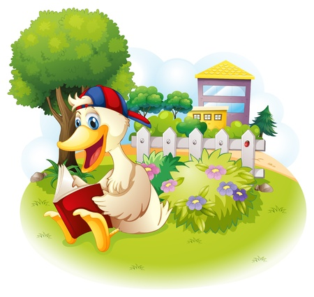 storyteller: Illustration of a duck reading at the garden with a fence on a white background