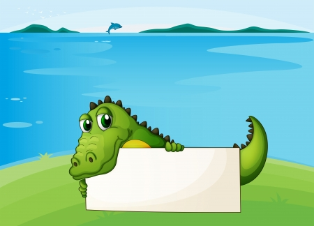 Illustration of a crocodile holding an empty signboard Vector