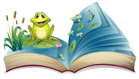 libro de cuentos: Ilustraci�n de un libro con la historia de la rana en el estanque sobre un fondo blanco