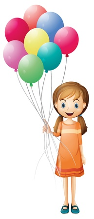 Illustration of a girl holding eight colorful balloons on a white background Vector