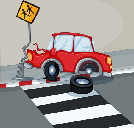 Illustration of a red car bumping the signage near the pedestrian lane