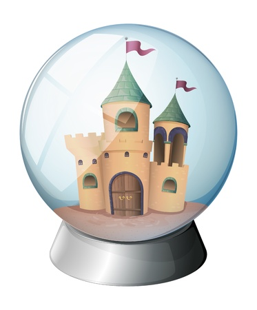 flaglets: Illustration of a castle inside a glass dome on a white background