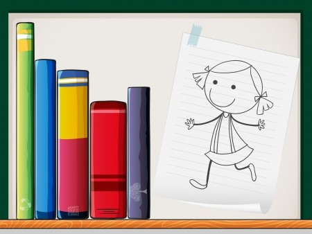 thick: Illustration of a piece of paper with a drawing of a girl beside the books at the shelf Illustration