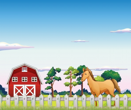 barnhouse: Illustration of a horse inside the fence with a barn Illustration