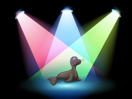 Illustration of a seal in the middle of the stage Stock Vector - 20366678