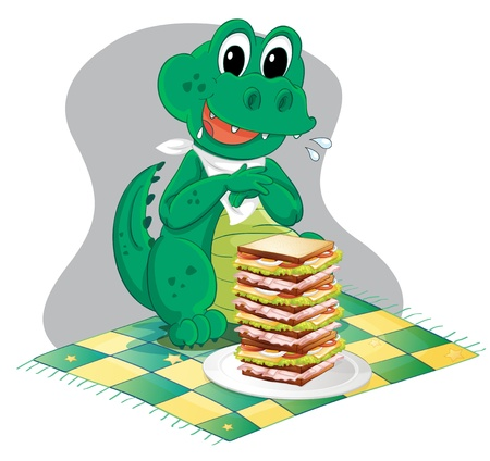 melaware: Illustration of a hungry crocodile in front of a big pile of sandwich on a white background Illustration