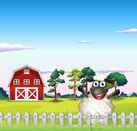 Illustration of a happy sheep near the barn Vector