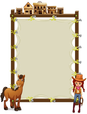 saloon: Illustration of an empty signage with a cowgirl and a horse on a white background