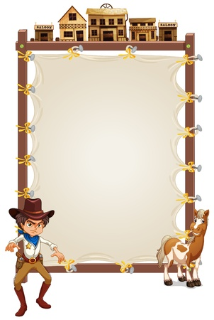 a signboard: Illustration of a cowboy and a horse in front of an empty signage on a white background